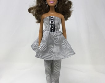 """Doll Pant Suit-11.5"""" Doll Clothes-Handmade Doll Clothes-Sparkly Dress-Crop Pants-Unique Doll Clothes-Gifts for Girls-Toys"""