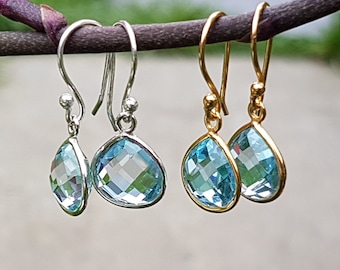 Sterling Silver 18k Gold plated Vermeil Wire Drop Dangle Earrings with Faceted Blue Topaz