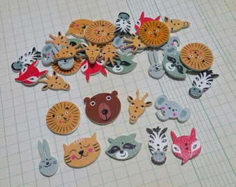 Wood Zoo Animal Buttons - Wooden Painted Button - Elephant Raccoon Tiger Zebra Fox Buttons - 25 Assorted Buttons