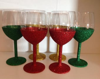 Glitter Wine Glasses, Red, Gold, Green, Glitter, Christmas, Made to Order