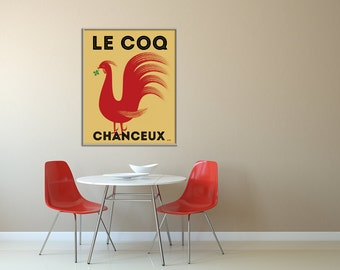 Large French Rooster Poster, Rooster Kitchen Decor, French Decor