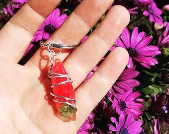 Bloodshot - Red Wrapped Cannabis Gemstone - Weed Resin Keychain - MMJ - Medical Grade - Hemp Product