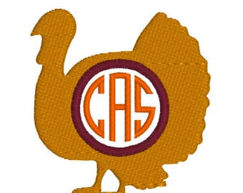 BUY 2, GET 1 FREE - Filled Turkey Monogram Frame Machine Embroidery Design Perfect for Thanksgiving Napkins - Silhouette 3 inch