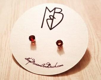 Natural Dark Red Garnet Stud Earrings