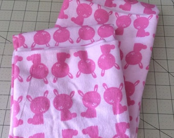 Pink Bunny Rabbit Flannel Pillowcase Set for Standard Size Bed Pillows Pillowcases with Personality