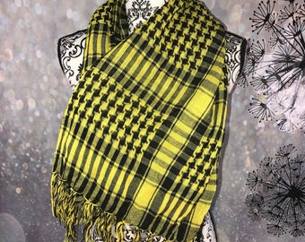 Yellow and black large shawl wrap scarf