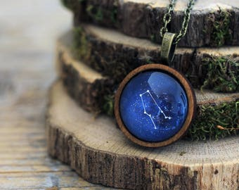 Gemini Necklace, Gemini, Gemini Constellation, Zodiac Necklace, Gemini Zodiac Pendant, Constellation Necklace, Wooden Necklace, Space