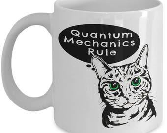 Schrodinger's Cat Mug - Quantum Mechanics Rule- Ceramic Mug for Coffee and Tea, 15oz, Made In The USA