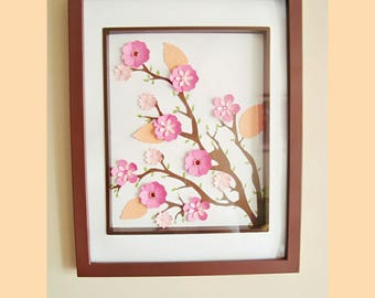 Cherry Blossom Art Framed - Handmade Paper Flowers | Paper Flowers | Cherry Blossoms | Cherry Blossom Art | Gifts for her | Home Decor