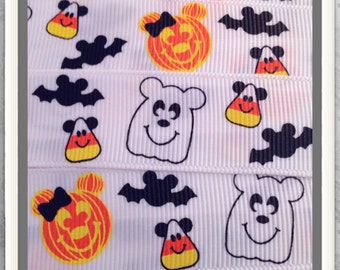 """Mouse Ears on Pumpkins Candy Corn & Bats w/ Ghost 5 yds 7/8"""" on white"""