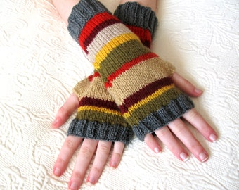4th Doctor Who Inspired Fingerless Gloves