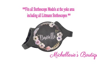 Floral Personalized Stethoscope ID tag, Personalized Stethoscope Name Tag, Monogram Stethoscope Name Tag, Stethoscope Name ID Tag, MB353