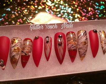 Devil Wearing Prada |Stiletto Nails | Long Press On Nails | Glue On Nails| Painted Nails | Rhinestone Nails | Bling Nails