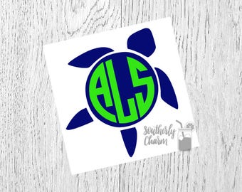 Seaturtle Decal, Seaturtle Monogram, Vinyl Decal, Yeti Decal, Car Decal, Gifts for her, Phone Decal, Laptop Decal, Yeti Cup