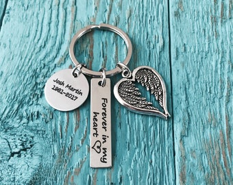 Forever in my heart, Memorial, Gift, Bereavement, loss of, loved one, Silver Keychain, mom, Dad, Son, Daughter, Sister, Grandpa, Gifts for