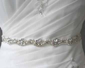 Skinny Bridal Wedding Sash Silver Rhinestones Crystal and Beads