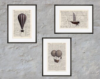Prints set of 3 - AIRSHIPS - Antiquarian Book page