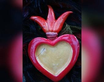 Large flaming heart nicho charm
