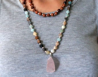 Hand Knotted 108 Mala Bead, Mala Necklace, Pendant Bead Necklace, Pendant Necklace Bohemian Jewelry, Mala Bead Necklace, Wood Bead Necklace