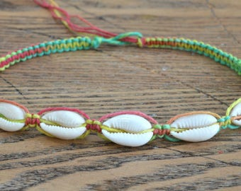 Hemp Necklace with Cowrie Shells Multicolored Rasta Colors