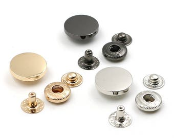 6 Pcs 0.39~0.98 Inches Gold/Silver/Gun Black Flat(Plane) Snap Fasteners Metal Shank Buttons For Down Coats/Bags/Handmade