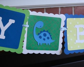 Dinosaur Happy Birthday Banner, Dinosaur Theme, Dinosaur Birthday Party, Blue, Green and Yellow