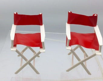 Barbie Red Folding Deck Director Chairs 1970s
