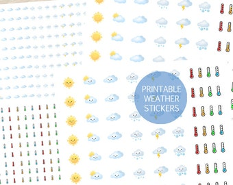 Daily Daylight Weather Stickers, Printable Weather Stickers, Planner Weather Stickers,Thermometer Temperature Stickers,Erin Condren Stickers