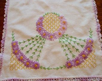 Dresser Scarf Embroidered Purple Floral Table Runner Vintage Bureau Scarf