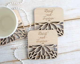 40% OFF Wedding Coasters, Custom Coasters, Wood Coasters, Personalized Coasters,Engraved Coasters,Wedding Gift Coasters,Customized Coasters