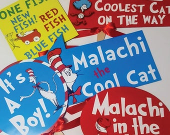 5 Fully Assembled Party Photo Signs,Dr. Seuss Photo Props, Cat in the Hat Party