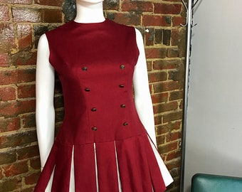 Vintage Cheerleading, Cheer Uniform, Vintage Cheerleader, Pleated Skirt, Two Piece Set, Costume, Crimson, Cheerleader Uniform