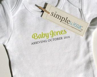 baby arriving... baby bodysuit pregnancy announcement