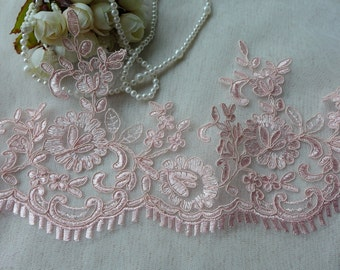 Lace Trim Pink Alencon Embroidered Bridal Lace for Wedding, Veils, Bridesmaids, Costumes