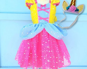 UNICORN dress girls, UNICORN costume, Unicorn princess dress,  toddler girls costume, Halloween costume, sparkle princess dress
