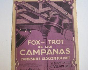antique sheet music colour lithograph, fox - trot de las campanas