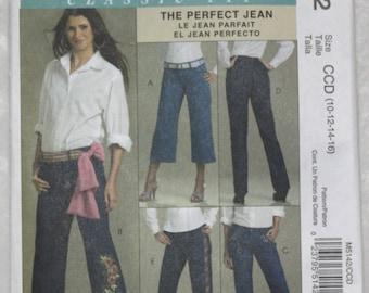 "Sz CCD 10 12 14 16 waist 25"" - 30""  McCall's   Sewing Pattern M 5142 Palmer Pletsch Perfect Jean Classic Fit"