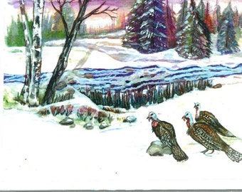 Three turkeys beside winter stream Lindy greeting card