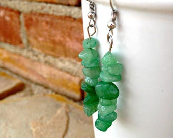 Jade Earrings, Green Jade Earrings, Jade Stone Earrings, Boho Beaded Earrings, Bohemian Bead Earrings, Hippie Earrings, Set of 3 Earrings