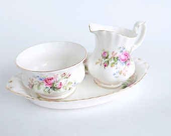 Royal Albert Moss Rose Creamer and Saucer Set