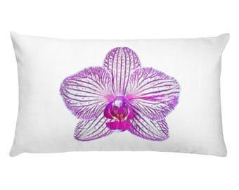 Pink Rectangular Pillow, Pink Pillows, Pink Flower Pillow, Orchid Decor, Orchids, Floral Pillow, Pink Bedroom Pillow