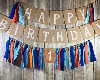 Custom Made Birthday Banner set, Fish First Birthday Banner Set, Fish High Chair Birthday banner, Fish Birthday Banner