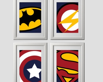 superhero wall art prints, super hero wall art prints, high quality prints shipped to your door, set of 4, batman bedroom, superhero bedroom
