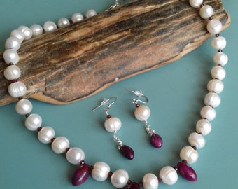 Ruby necklace earrings suite with 10mm white CFW Pearls, Rhodolite Garnet, 925 sterling silver, 40th Anniversary - Red Sky at Night
