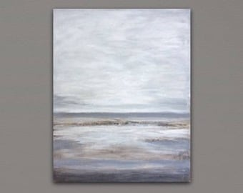 Abstract Painting on Canvas Landscape Painting gray beige white Original Large Wall Art Abstract Seascape Large Abstract Acrylic Painting