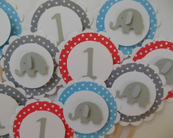 Elephant and 1st Birthday Cupcake Toppers - Blue, Gray and Red Polka Dots - Gender Neutral - Birthday Party Decorations - Set of 12