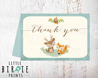 Woodland Baby Shower Thank you card / Baby Shower Fox Deer /// Matches Invitation  in my shop // Instant download