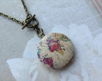 Small World Map Locket Necklace, World Wanderlust  Round Locket , Round the World, Travel Gift for HER, Girl Ladies Friend Gift
