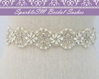 Crystal Bridal Belt, Rhinestone Sash, Beaded Bridal Belt, Bridal Dress Sash, Wedding Dress Sash, Bridal Sash, Prom Sash, Crystal Sash