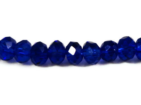 Rondelle Crystal Beads 3x2mm (2x3mm) Royal Blue Tiny Faceted Chinese Crystal Glass Beads 100 Loose Beads per Pack